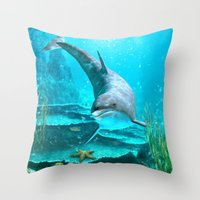 dolphin Throw Pillows featuring Dolphin by Simone Gatterwe