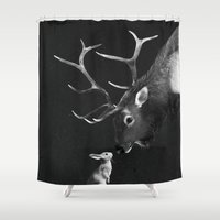 elk Shower Curtains featuring Elk and Rabbit by Laura Graves