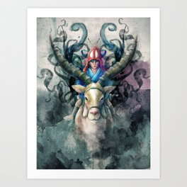 Ashitaka Demon Watercolor Digital Painting Art Print