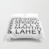 teen wolf Duvet Covers featuring Teen Wolf Last Names by Dan Lebrun