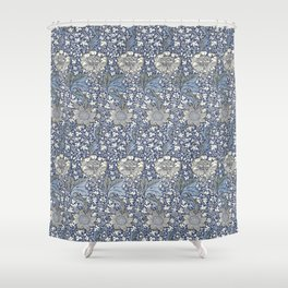 William Morris Navy Blue Botanical Pattern 7 Shower Curtain
