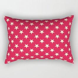 Cream Yellow on Crimson Red Stars Rectangular Pillow