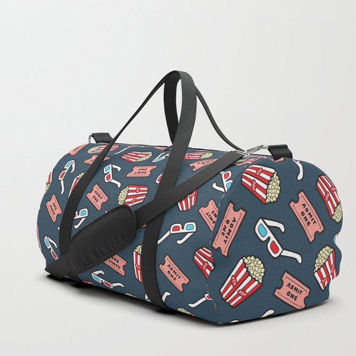 Movie Pattern in Dark Blue Duffle Bag