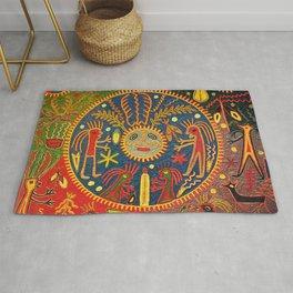 Peyote Sun Ritual Huichol Rug