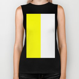 White and Yellow Vertical Halves Biker Tank