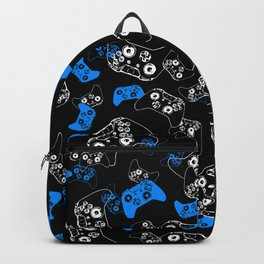 Video Game Blue on Black Backpack