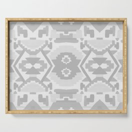 Geometric Aztec in Soft Grey Serving Tray
