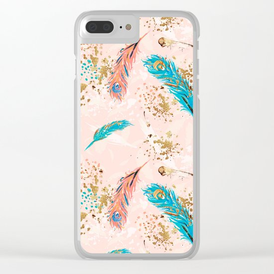 Feather peacock peach mint #5 Clear iPhone Case