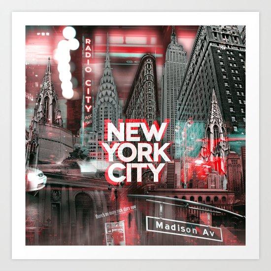 New York City II [red] Art Print