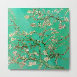 "Vincent van Gogh ""Almond Blossoms"" (edited emerald) Metal Print"