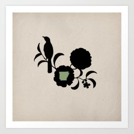 Arkansas - State Papercut Print Art Print