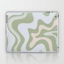 Liquid Swirl Contemporary Abstract Pattern in Light Sage Green Laptop & iPad Skin