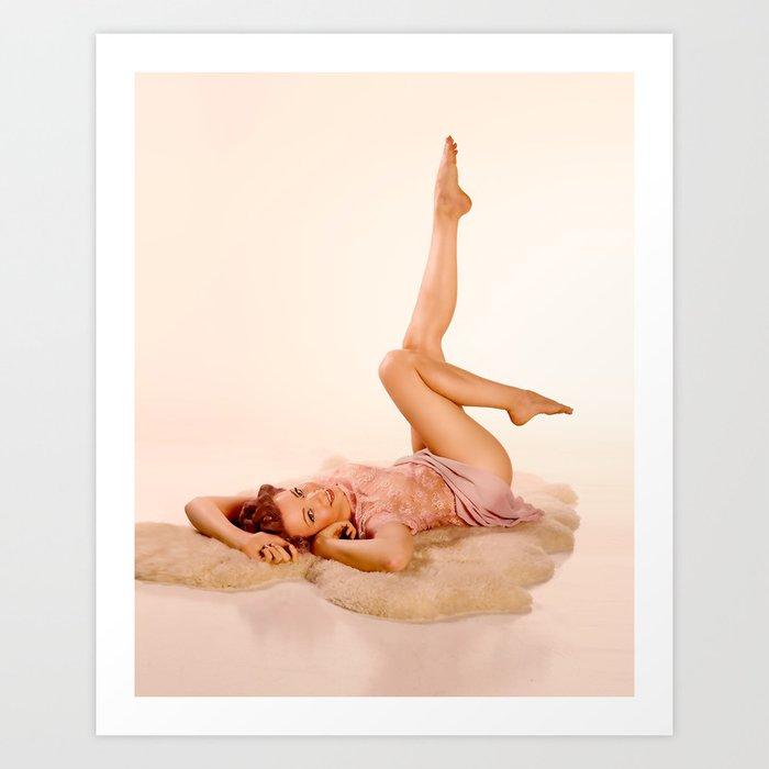"""Kicking Back"" - The Playful Pinup - Sexy Pin-up Girl on Fur Rug by Maxwell H. Johnson Art Print"