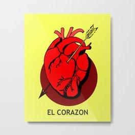 El Corazon Mexican Loteria Pop Art Metal Print