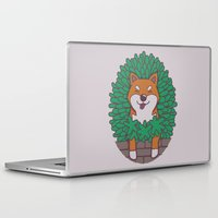 shiba inu Laptop & iPad Skins featuring Just hangin' out here.. (Inu Series) by Corinna Schlachter
