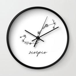 Scorpio Floral Zodiac Constellation Wall Clock