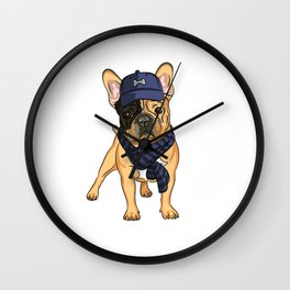 Cute puppy pug in baseball hat and scarf. Wall Clock