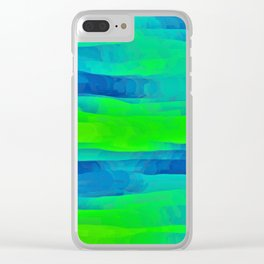 Lime Green & Blue Stripes Abstract Clear iPhone Case