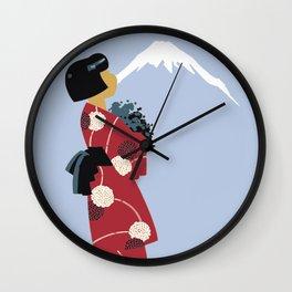 Japonesa y el volcan Wall Clock