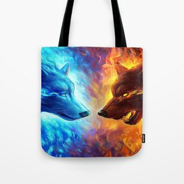 Wolf Light and Dark Tote Bag