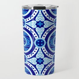 Blue and white monograms. Porcelain. Travel Mug