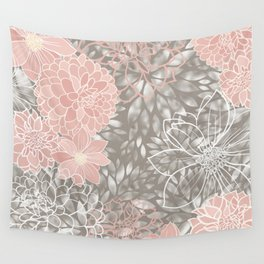 Floral Pattern Dahlias, Blush Pink, Gray, White Wall Tapestry
