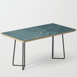 Monstera No2 Teal Coffee Table
