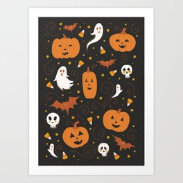 Pumpkin Party - Black Art Print