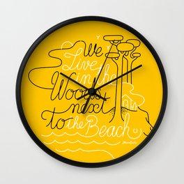 WOODY BEACH Yellow Wall Clock