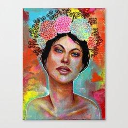 Flower Rainbow Girl in Mixed Media Canvas Print