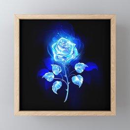 Burning Blue Rose Framed Mini Art Print