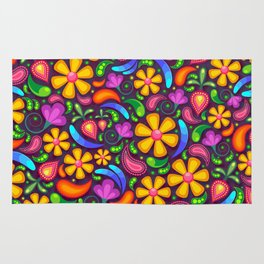 Colorful floral and paisley pattern Rug
