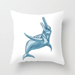 Amazon River Dolphin Drawing Throw Pillow