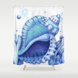 Blue Green Shells Shower Curtain