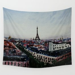 Paris Eiffel Tower Acrylics On Canvas Board Wall Tapestry