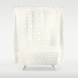Angled White Gold Shower Curtain