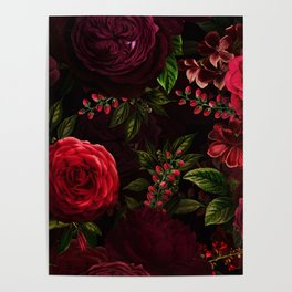 Mystical Night Roses Poster