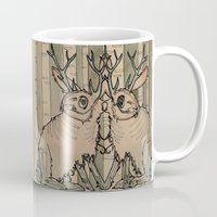 jackalope Mugs featuring JACKALOPE by Lena Hirsch
