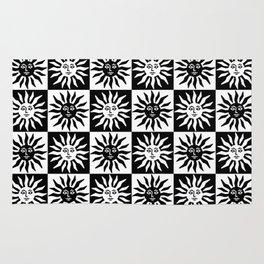 Mid Century Modern Sun Pattern Black and White Rug