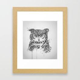 """""""GREAT HORNED OWL""""-BLACK AND WHITE Framed Art Print"""