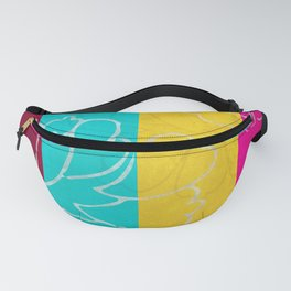 Chinese Flowers & Stripes - Pink Yellow Cyan Red Fanny Pack