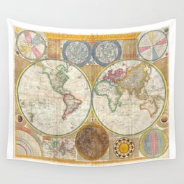 1794 Vintage World Map Samuel Dunn Wall Tapestry