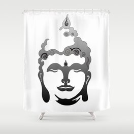 Buddha Head grey black white background Shower Curtain