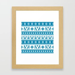 Christmas Holiday Nordic Pattern Cozy Framed Art Print