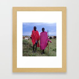 Two Maasai Teens Tending to Cattle in Africa Framed Art Print