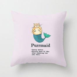 Purrmaid Throw Pillow