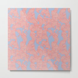 Trailing Curls // Pink & Blue Pastels Metal Print