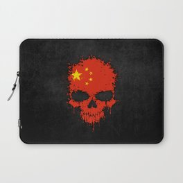 Flag of China on a Chaotic Splatter Skull Laptop Sleeve