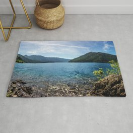 Lake Crescent Olympic Mountain Pano Rug