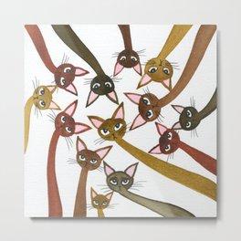 Hachita Whimsical Cats Metal Print
